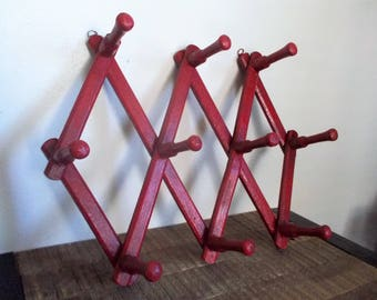 Vintage Red Wood Accordion Style Expandable 10 Peg Wall Rack