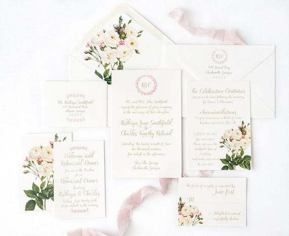White Rose Wedding Invitation with White Rose Envelope Liners and