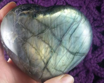 Labradorite Heart Large Crystal Stones Crystals Flash XL Flashy Green gold blue