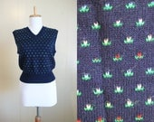 Sweater Vest Vintage 80s Navy Blue Flower Motif Preppy Golf Prep Womens Small XS