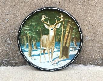Vintage Deer Metal Tray by James Artig