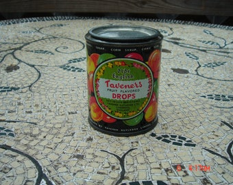 Vintage Olde English Taveners Fruit Flavor Drops Tin - Liverpool England
