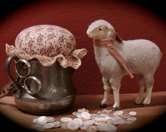 Upcycled Solid Pewter Colonial Styled Pincushion (sheep not included)