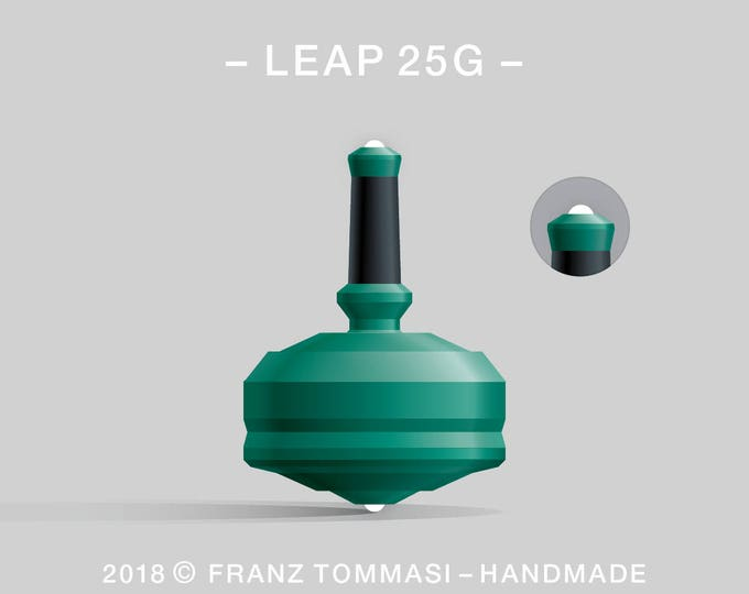 LEAP 25GGreen – Precision handmade polymer spin top with dual ceramic tip and rubber grip