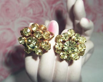 Rhinestone Earrings - Cluster With Screw Backs