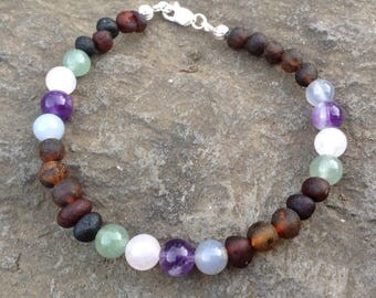 Baltic Amber Pregnancy & Lactation Support Bracelet - reduce nausea, supports lactation, calm anxiety, supports heart chakra