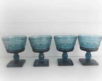 Blue Indiana Glass Wine Glasses (Set of 4) Colony Park Lane Colonial Kings Crown Small Goblets Boho Barware Bar Cart Decor