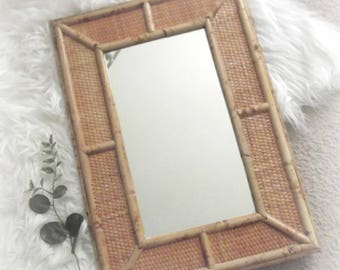 Vintage Bamboo Mirror Rattan Mirror Tropical Decor Bohemian Wall Decor Boho Mirror