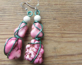 Pink Rock Bead Earrings, Wire Wrapped Earrings, Pink Lover Gifts, Upcycled Recycled Jewelry, Boho Chic Pink Beaded Earrings, Howlite Stone