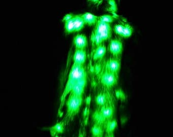 Faux Fur Light Up Coat - Green Faux Fur Coat  Light Up Coat 80 Green LEDs - Vestment Brocade Interior-LED Fur Coat  Ready to Ship