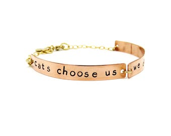 Cat Quote Bracelet, Cat Lover Jewelry, Cat Quote, Cat Bracelet, Copper Bracelet, Animal Lover Jewelry, Inspirational Quote, Copper Jewelry