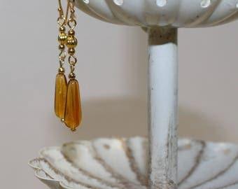 Quality Amber Czech Glass Earrings, Gold-Filled Earwires, Victorian, Civil War Appropriate - Affordable Elegance