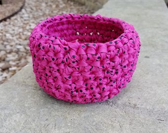 Upcycled Crochet Catch All Basket Recycled Round Storage Basket Organizer Small Pink Black Ribbon