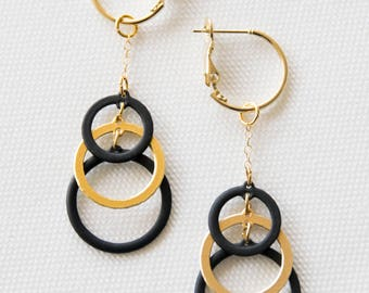 3 Rounds gold &  black earrings with long  24K Gold Plated Necklace