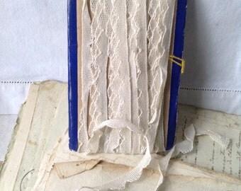 Antique Lace, Vintage Bobbin Lace Trim, White Cotton Scalloped Edge 8yd Vintage Wedding Dolls & Bears - Something Old