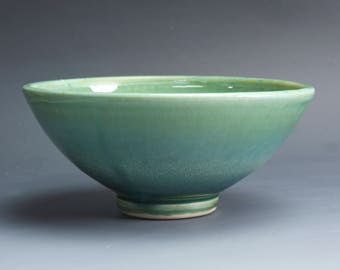 Handmade pottery bowl jade green porcelain serving or pottery salad bowl 18 oz - 4044