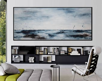 Large Abstract seascape painting watercolor horizontal blue grey white minimalist 'perfect seascape' modern art wall decor