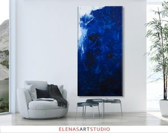 Large Abstract seascape painting horizontal blue grey white minimalist 'the beautiful unknown II' modern art wall decor