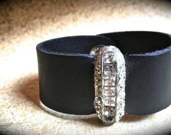 Black leather Bracelet- Rhinestone Cuff Handmade Bracelet