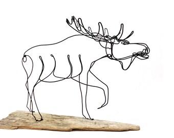 Moose Wire Sculpture, Moose Art, Bull Moose, 555385516