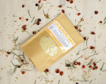 Herbal Bath Salts, Lavender Orange, Vegan Bath Salt, Organic Herbs, Himalayan Salt Soak, Palm Free Bath Tea, Handmade Bath Teas, Herbal Soak