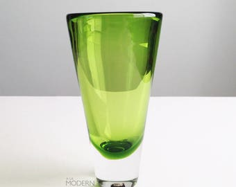 Bengt Orup for Hyllinge Sweden 1960s Signed Green Glass Vase