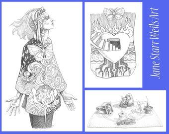 Set of Three Illustrations