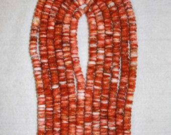 Spiny Oyster, Orange Spiny Oyster, Rondelle Beads, Orange Rondelle, Natural Shell, Half Strand, 8 mm, AdrianasBeads