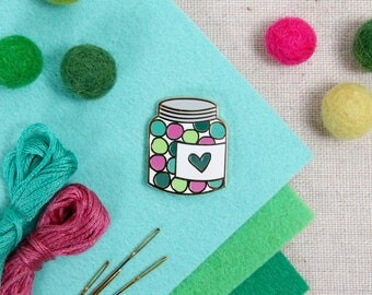 I Heart Poms // felt ball lapel pin, enamel pins for crafters, needle minder, craft flair, bubblegum pin, candy pins, jar of candy, jewelry