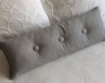 Gray woven 9x25 Bolster/lumbar pillow available in many of our fabrics