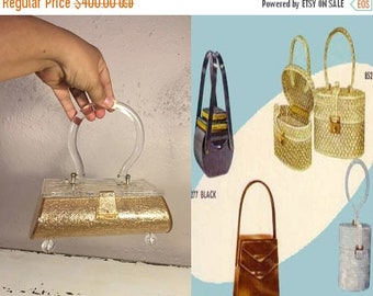 Anniversary Sale 35% Off Star Burst By Her Side - Vintage 1950s Golden Confetti Lucite Footed Coffin Box Handbag Purse