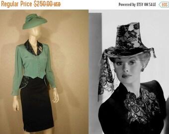 Anniversary Sale 35% Off Tropical Merry Widow - Vintage 1940s WW2 Aqua Turquoise Silky Rayon Jacket w/Black Lace - 8/10