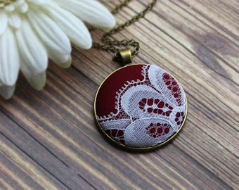 Burgundy Necklace, Unique Gift For Women, Anniversary, Fall Wedding, Red And White Cotton, Vintage Lace Jewelry