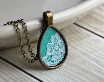 Small Mint Necklace, Teardrop Pendant, Unique Bridesmaid Jewelry, Green And White Flower Lace