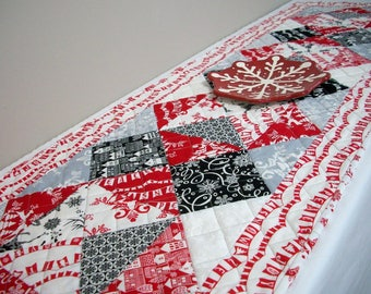 Winter Table Runner Quilted Black White Red Gray Christmas Snow Quiltsy Handmade FREE U.S. Shipping