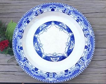 Antique Blue & White Round Platter, Buffalo China, Blue Vienna, Large Chop Plate, Semi-Vitreous