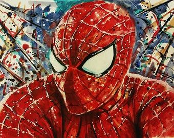 Print of Spiderman original watercolors comics art painting marvel art, comics poster, comics art, marvel prints, spiderman homecoming,