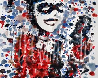 "Print of original comic art watercolor painting, Harley Quinn, size 11""x14"", DC comics, marvel, batman, home decor, posters, movie prints"