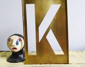 "Vintage letter ""K"" brass stencil 8 1/4 tall initials Art Craft supplies display"