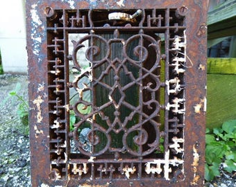 Antique Cast iron Grate Floor Wall Architectural salvage square chippy Deco Victorian Gothic Decorative