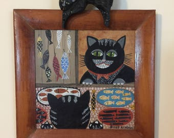 "Original Rosebee folk art cats  wall plaque ""Fish Buffet"""