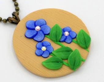 Indigo Flower Necklace, 1.5 Inches; Polymer Clay Pendant; Floral Necklace; Springtime Fashion; Style #: BLF07