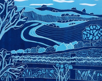 Linocut of 'Wilmington Hills' direct from Sue Collins Art. Limited Edition of 4.