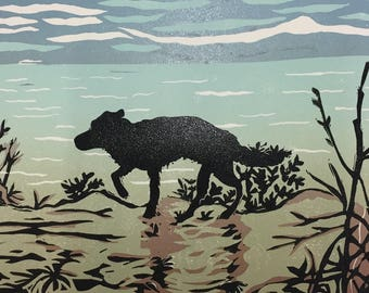 Linocut of 'Coastal Walk' direct from Sue Collins Art. Limited Edition of 4.