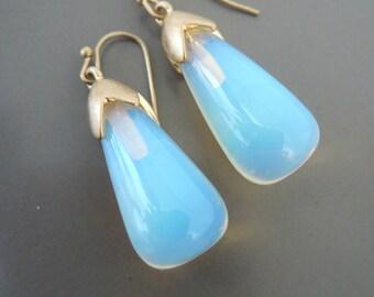 Vintage Inspired Earrings - Art Deco - Opal Earrings - Gold Earrings - Opal Glass Earrings - Bridal Earrings - Wedding Jewelry - Handmade