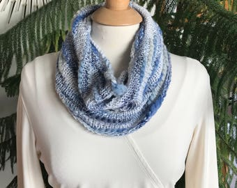 Denim Blue Hand Knit Chunky Wool Cowl, Blue Neckwarmer, Blue Infinity Scarf,  Blue Cowl, Textured Cowl, For Her, Blue Gray Cowl, Denim Cowl