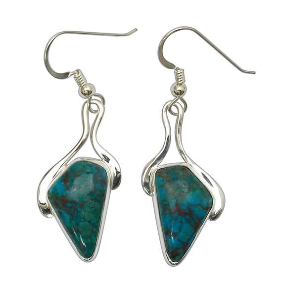 Chrysocolla Dangle Earrings Set in Sterling Silver  echre2875