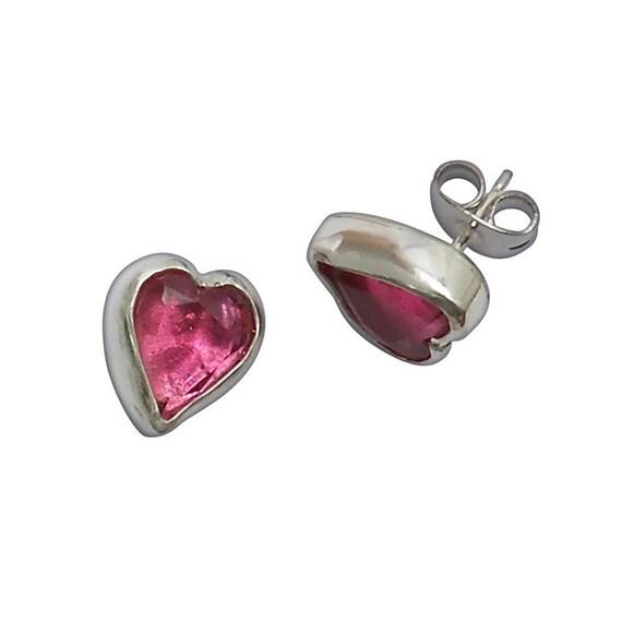 Antique Czechoslovakian Glass and Sterling Silver Heart Shape Post Earrings  eczed2939