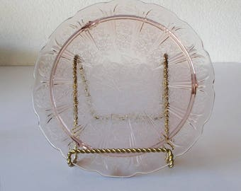 Jeannette Glass Cherry Blossom Footed Cake Plate
