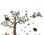 Vinyl Wall Decal Tree Decals for nursery - Owl Nursery Tree -